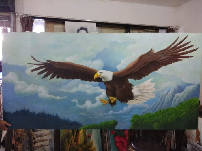 Jual Lukisan Karya Seni Oil On Kanvas Burung Elang 224x110cm