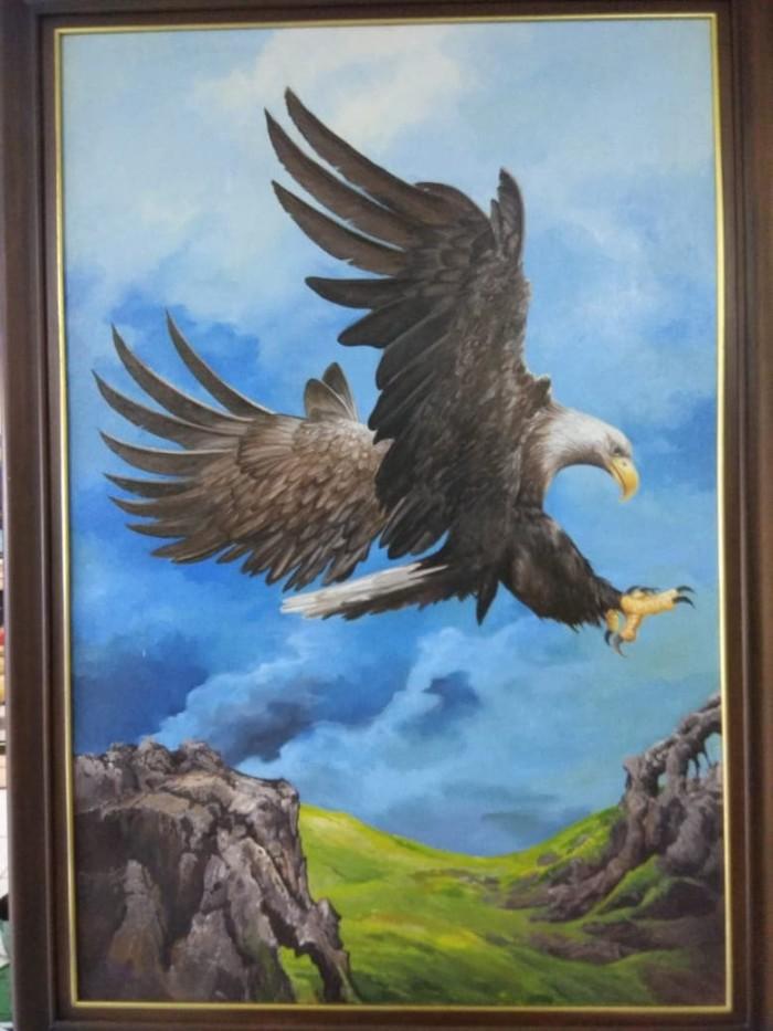 Jual Lukisan Karya Seni Oil On Kanvas Burung Elang 150x100cm
