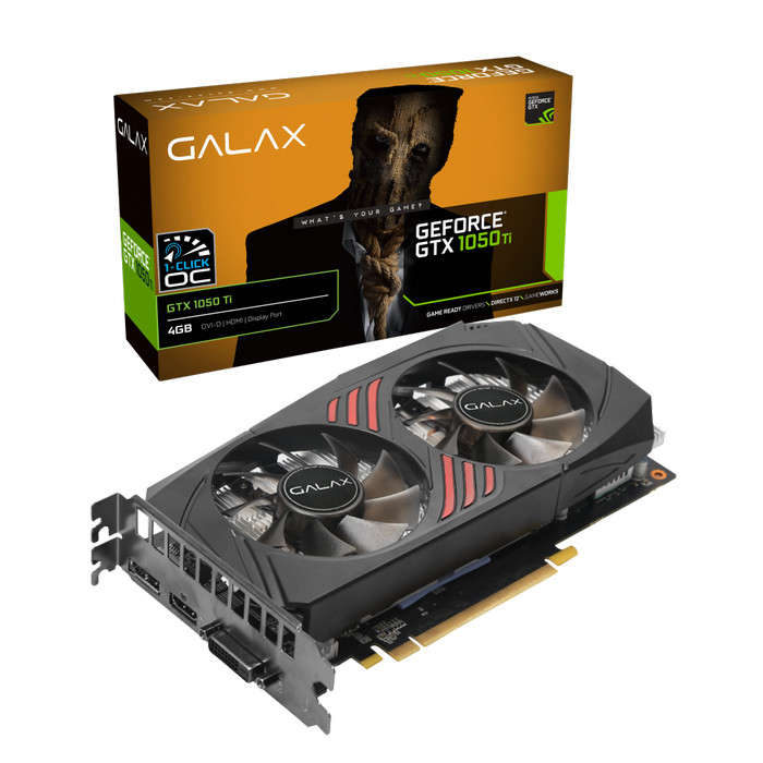 Foto Produk GALAX Geforce GTX 1050 Ti 4GB DDR5 - (1-Click OC) - DUAL FAN - Garansi dari Enter Komputer Official