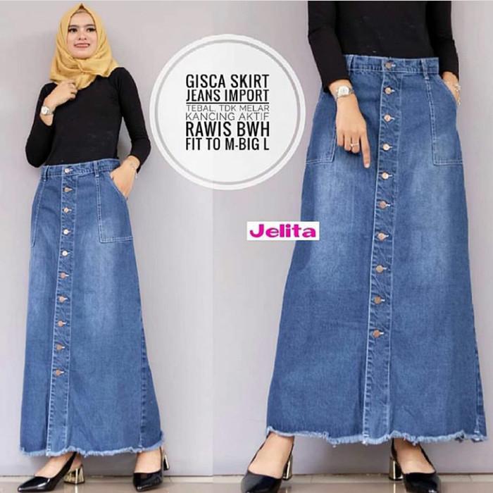 Foto Produk agnes long skirt jeans/rok jeans/rok panjang wanita/bawahan muslim dari dewshop