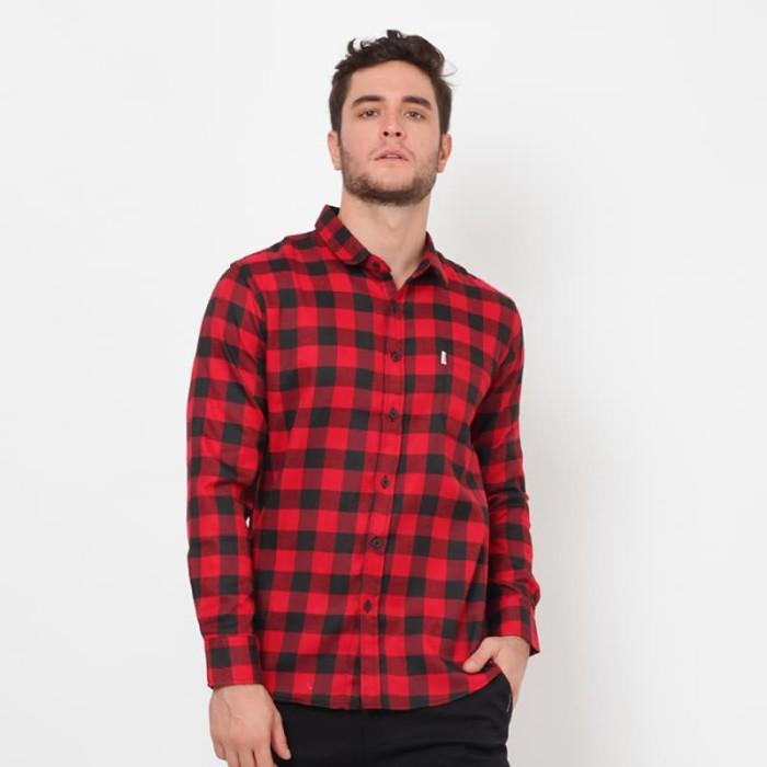 Edwin jeans flannels solomon merah hitam - merah xl