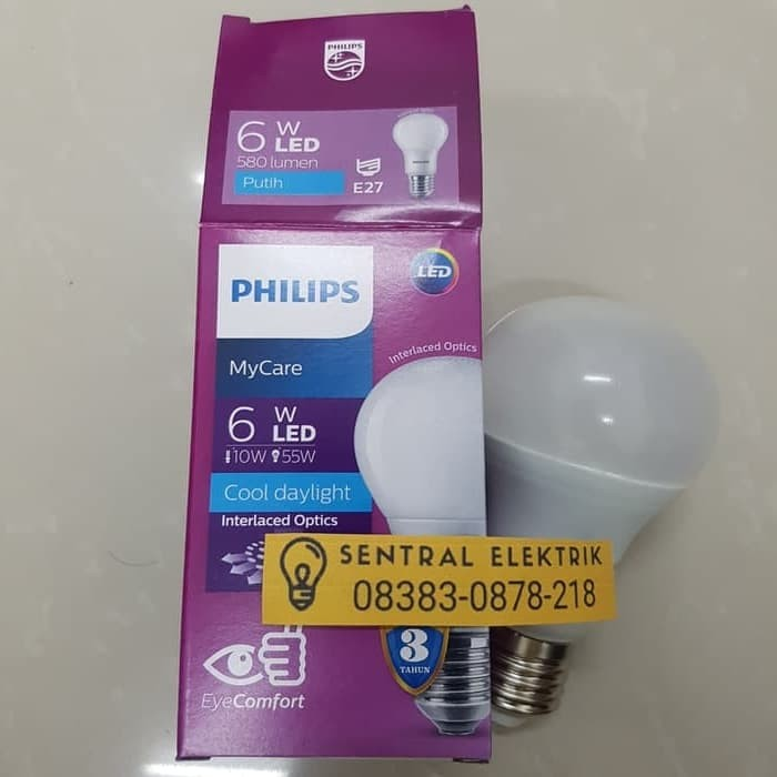 Lampu LED bulb 6.5watt 6.5w 6.5 w 6 6,5 Putih Philips ganti 7w 7watt 7