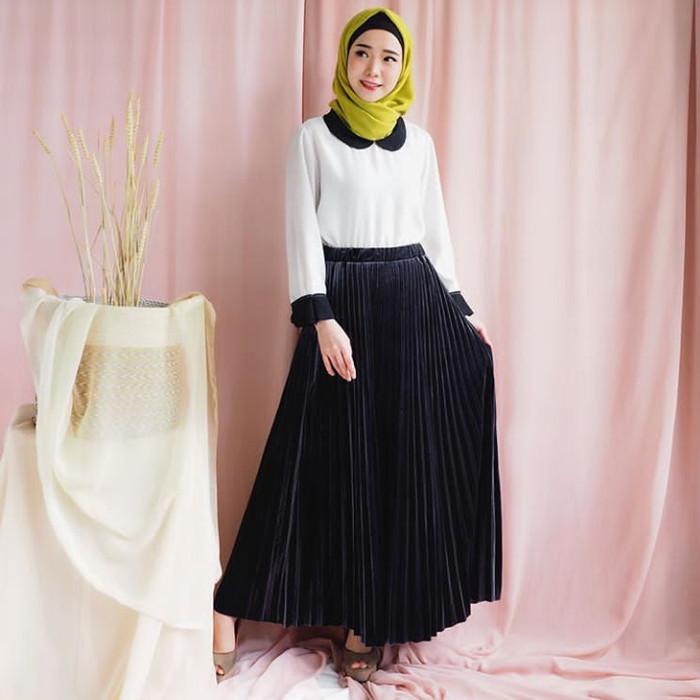 16a457417c Belle Long Pleated Skirt / Rok Plisket bahan Velvet Bludru Import -