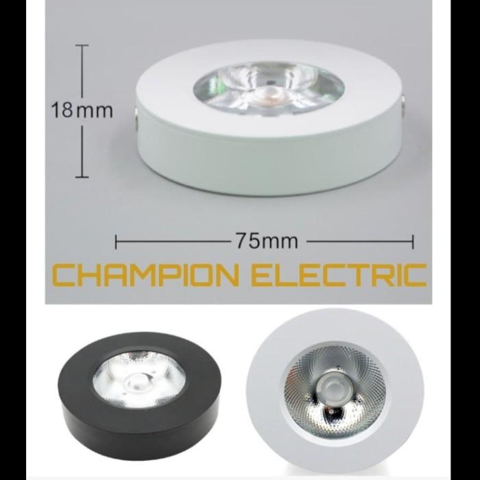 Foto Produk Lampu Downlight Outbow OB 5W 5 W 5 Watt 5Watt Plafon Tempel Slim Tipis - BODY HITAM, CAHAYA-PUTIH dari Champion Electric