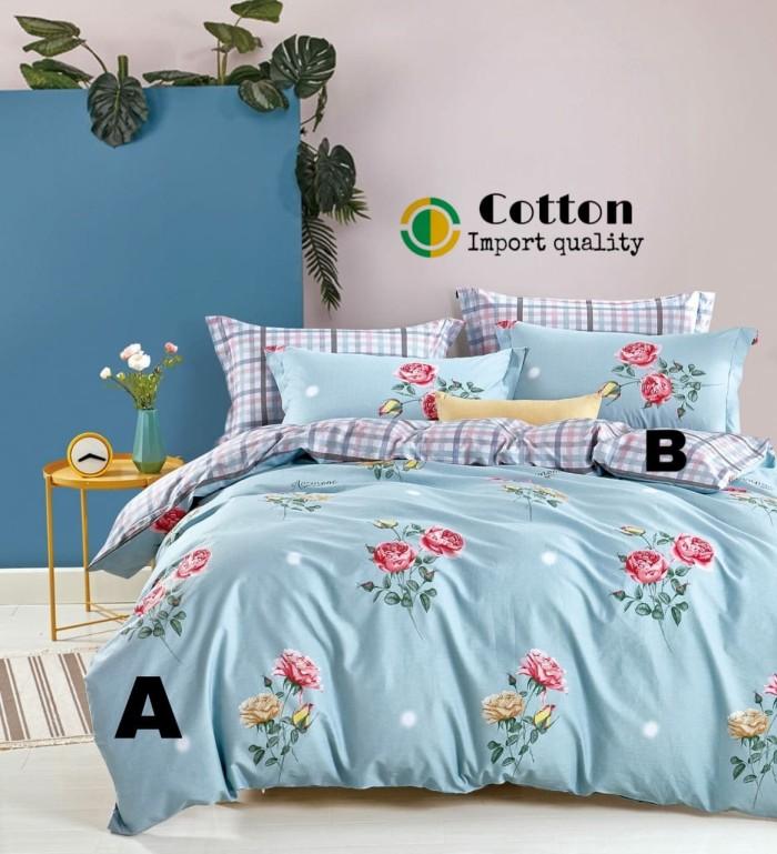 Foto Produk Kain Katun Jepang Meteran / Sprei dan Bedcover Katun Jepang CTR-001 - Bunga A Biru dari catra collections