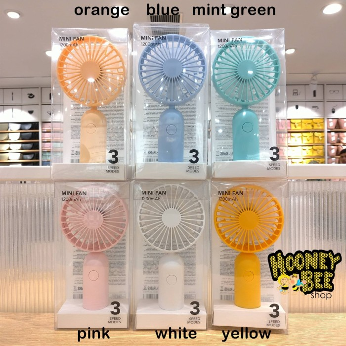 Foto Produk Original Miniso - Mini Fan Portable Powerbank 1200mAh Kipas Portable - Orange dari HooneyBee Shop