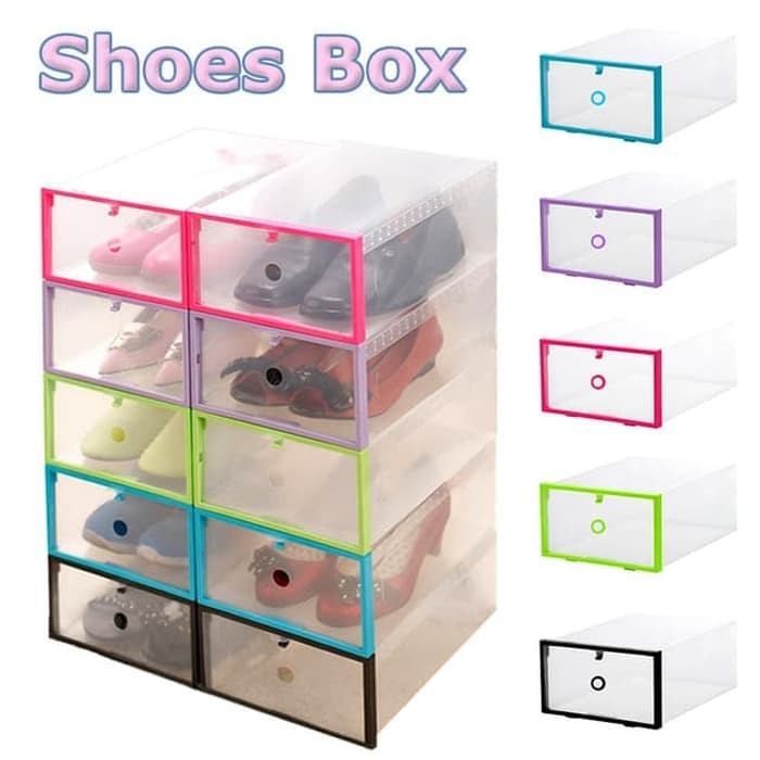 Shoes Box With Frame Box Sepatu Transparan Tebal Shoebox - RANDOM