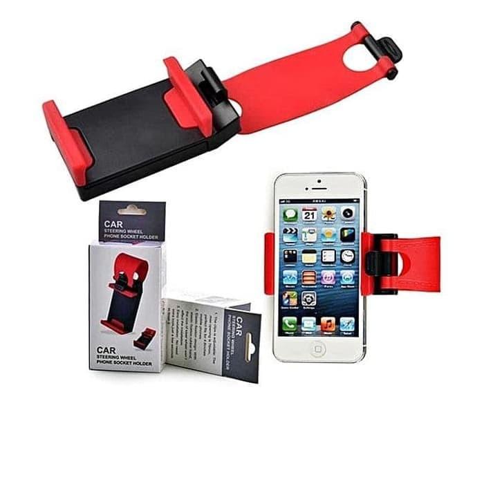 Car Steering Phone Holder Penggenggam Handphone Pada Stir Mobil