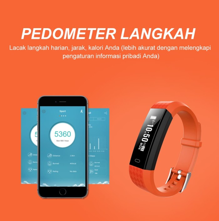 harga Createkat smart band heart rate monitor smartwatch gelang pintar - orange Tokopedia.com