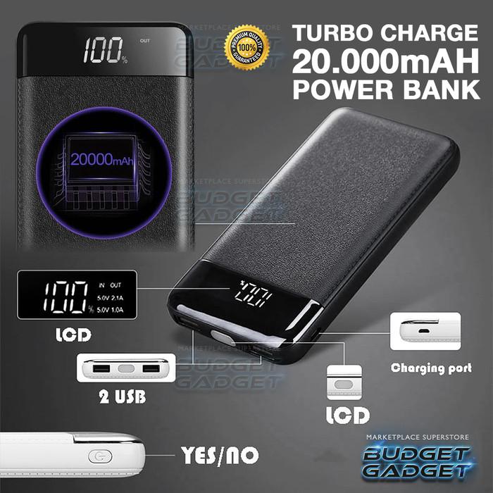 Foto Produk Power Bank TURBO Charge 2 Port 20000mAh with LED Flash - 20W dari BudgetGadget