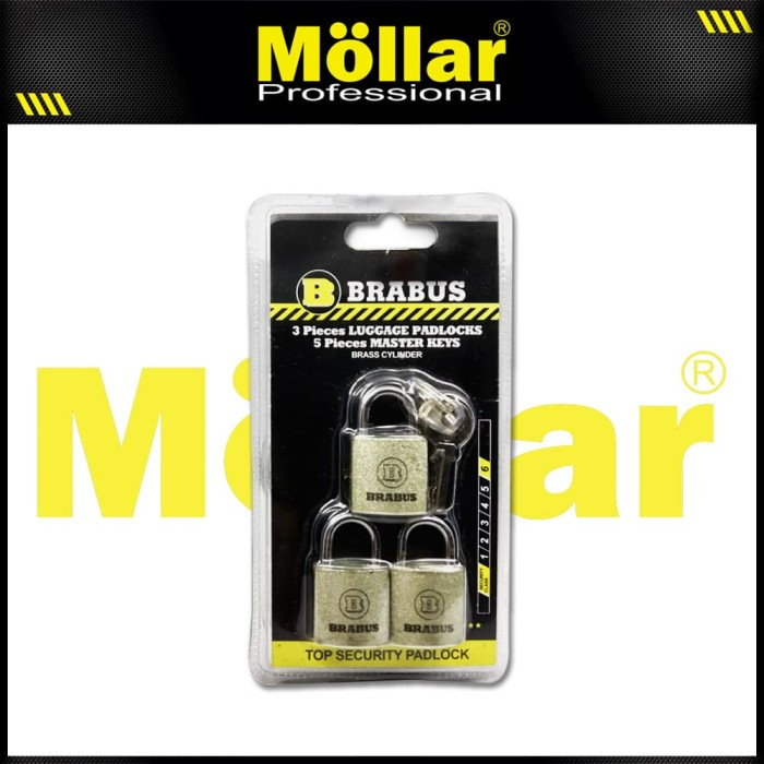 Foto Produk BRABUS 3 PCS GEMBOK MINI 20 MM TAS KOPER SET MASTER KEY dari Mollar Official