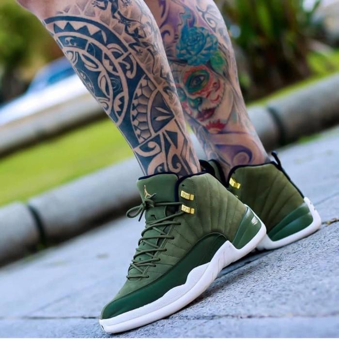 7d2b423ffadbe0 Jual Sepatu Basket Nike Air Jordan 12 Retro Olive Green Canvas ...