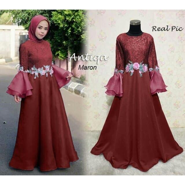 Jual Antiqa Maxi Kebaya Long Dress Pesta Kebaya Wisuda Brukat Gamis Pesta Maroon Kab Serang Princess Os12 Tokopedia