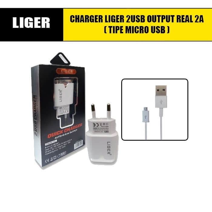 Jual CHARGER LIGER 2USB OUTPUT REAL 2A TIPE MICRO ANDROID - DKI Jakarta -  KOMPLIT STORE ACC | Tokopedia