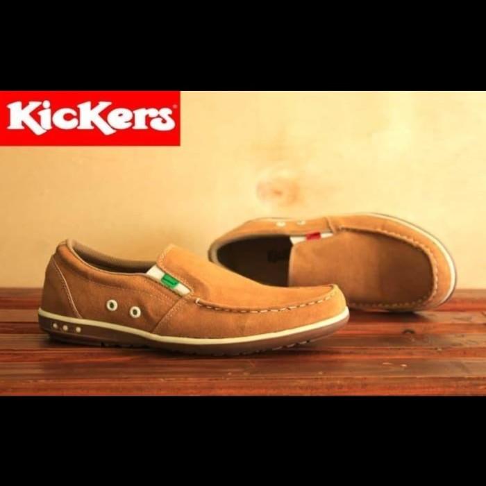 harga Sepatu casual pria kickers slop bintik tan Tokopedia.com