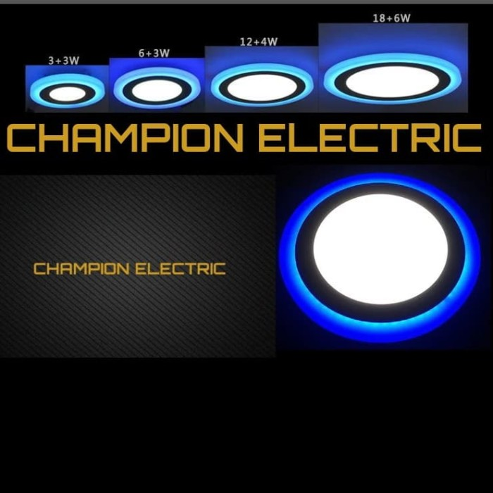 Foto Produk Lampu Downlight LED 2 Warna 12W Putih 4 Watt List Biru - PUTIH-LIS KUNIN dari Champion Electric