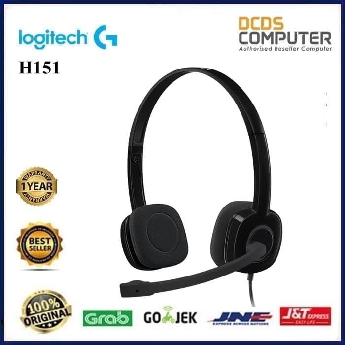Logitech H151 Stereo Headset With Mic Headphone Earphone - Hitam