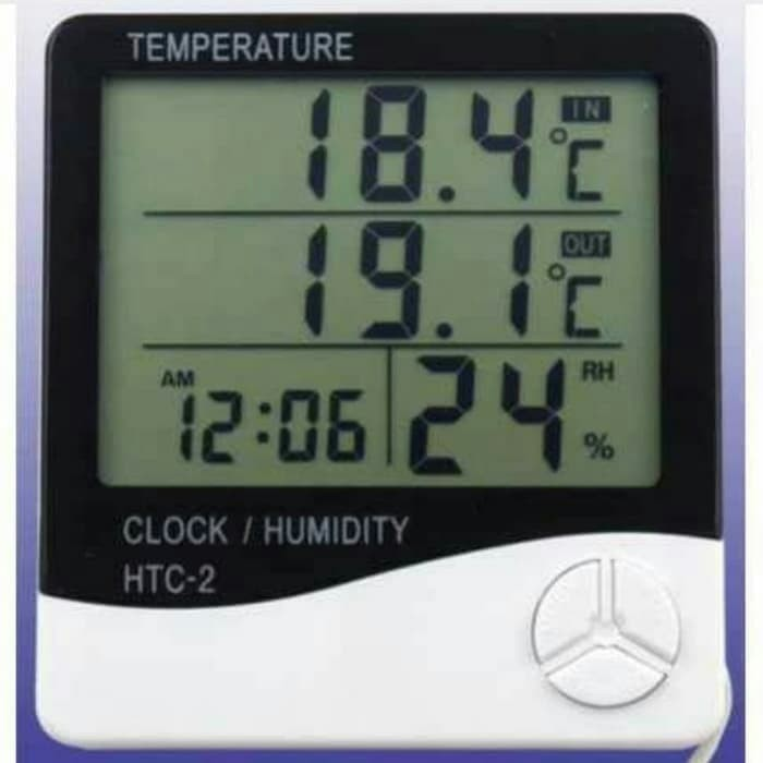 Foto Produk Pengukur Suhu Ruangan.. Temperatur Jam Digital Clock Humidity HTC 2 dari Dunia  Herbal 899