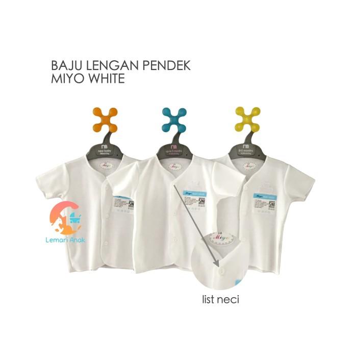 Foto Produk MIYO White 3pcs Baju Lengan Pendek 0-3 Bulan dari Lemari Anak