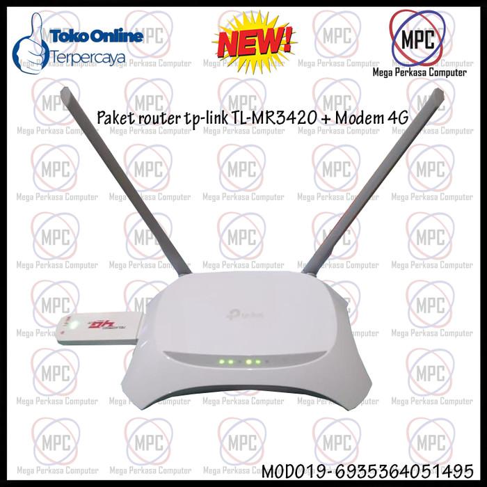 Paket Router Tp-link TL-MR3420 + Modem 4G USB wifi All GSM 300mbps