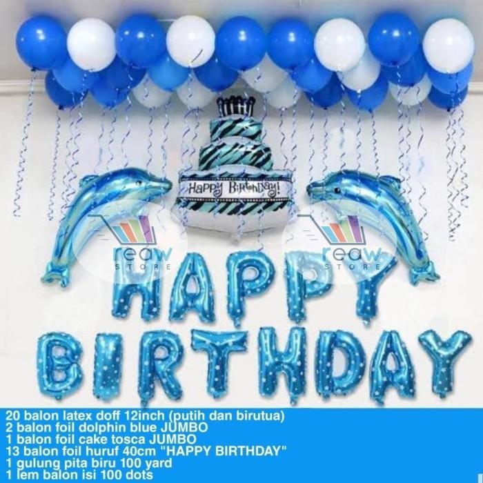 Jual Paket Dekorasi Balon Ulang Tahun Happy Birthday Tema Lumba Lumba Jakarta Barat Reaw Store Tokopedia