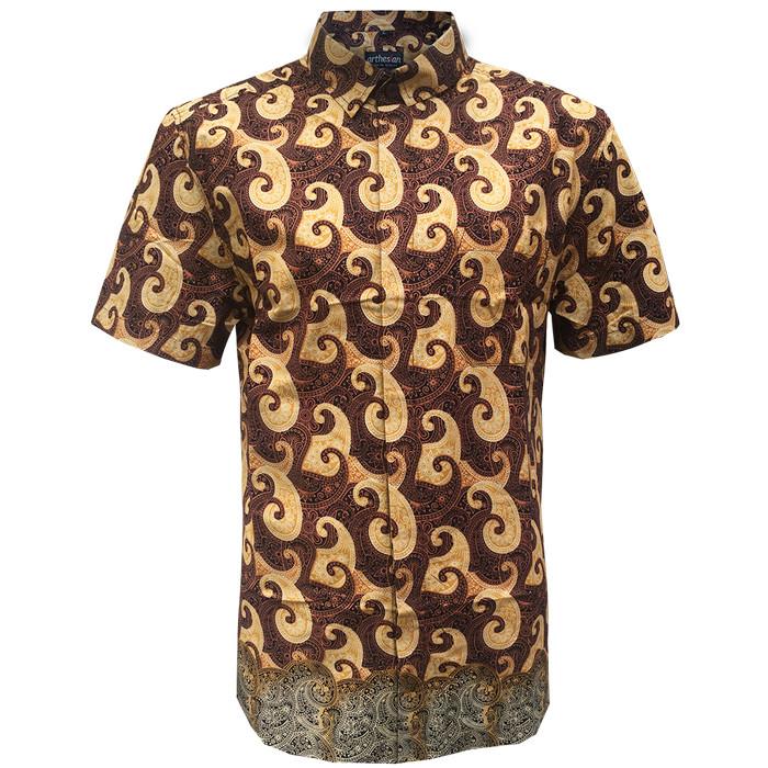 [arthesian] kemeja batik pria - emery batik printing - cokelat m