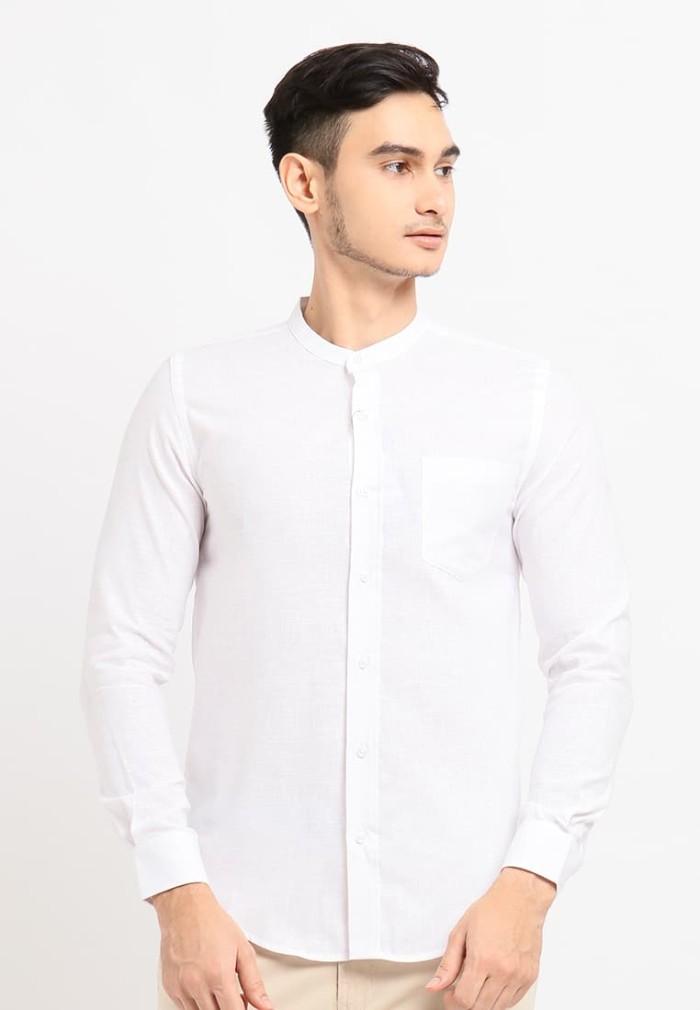 Arnett baju pria kemeja lengan panjang polos white - putih m