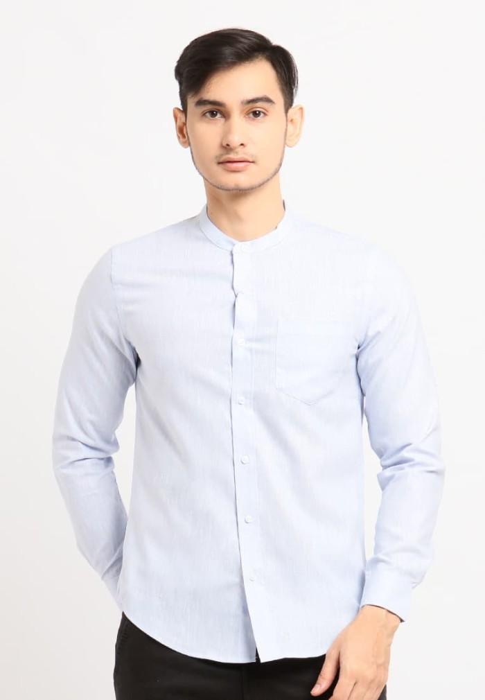 Arnett baju pria kemeja lengan panjang polos baby blue - biru muda l