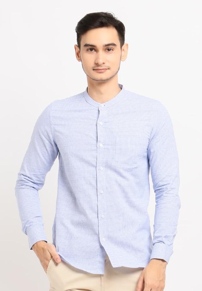 Arnett baju pria kemeja lengan panjang kotak kotak blue - biru muda xl
