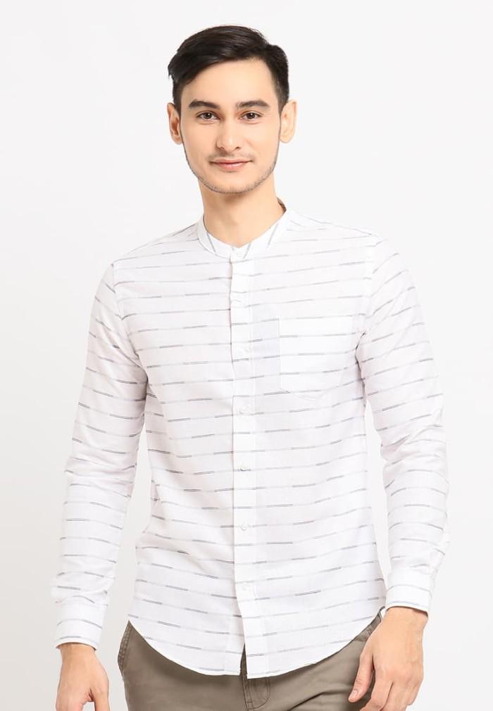 Arnett baju pria kemeja lengan panjang stripe white