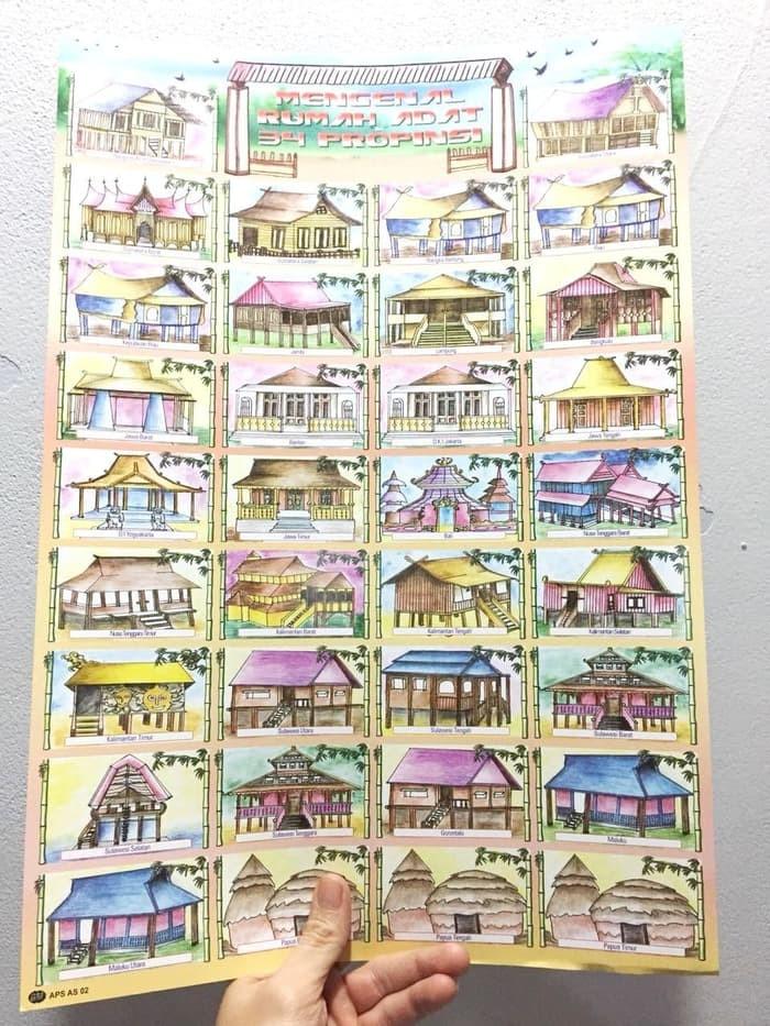 Jual Promo Mainan Poster Edukasi Anak Rumah Adat 34 Provinsi Kab Bandung Jayaratajaya Tokopedia