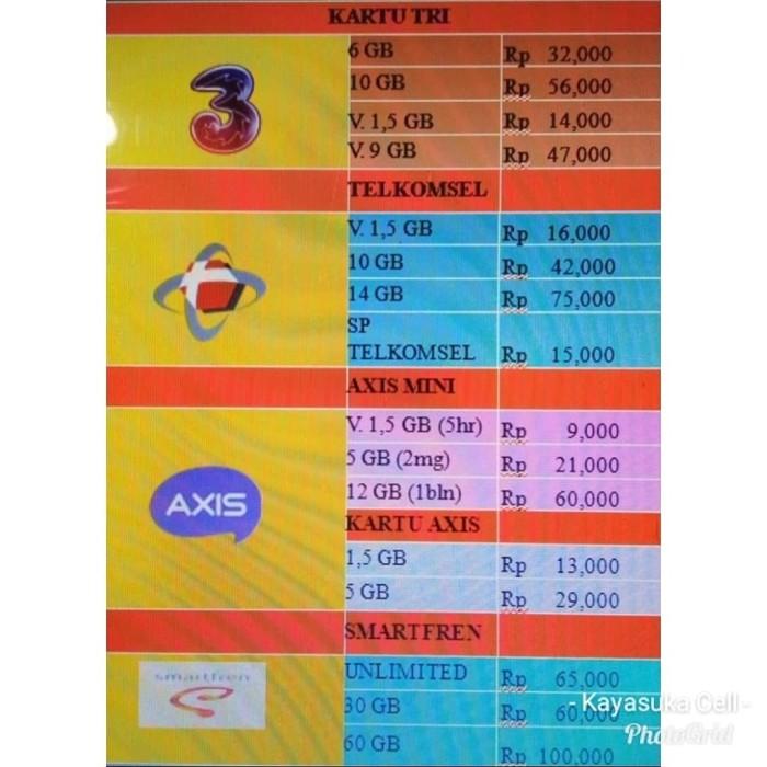 Jual Paket Internet Tri 6gb Telkomsel 10 Gb Axis Dan Smartfren Kota Padang Bali Data Tokopedia