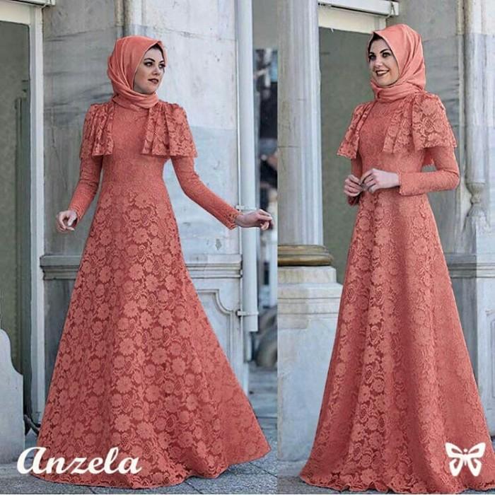 harga Dress brokat tebal furing anzela maxi pjg rst (peach) m Tokopedia.com