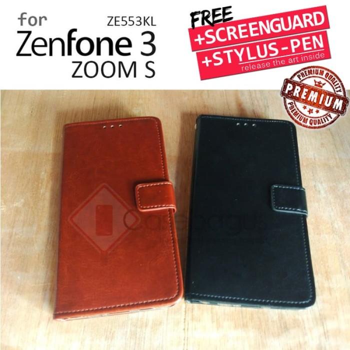 Asus Zenfone 3 Zoom S ZE553KL - Elegant Retro Leather Flip Case Cover - Black