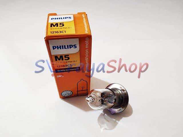 Foto Produk Lampu Halogen Sepeda Motor Bebek M5 12V 25/25W Philips dari Seraya Shop