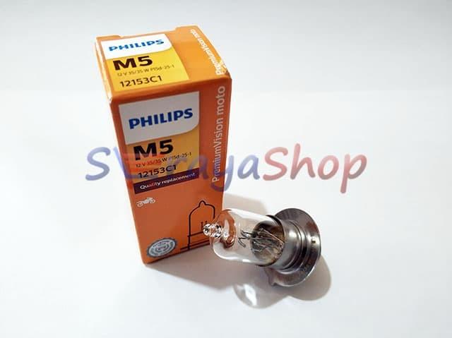 Foto Produk Lampu Halogen Sepeda Motor Bebek M5 12V 35/35W Philips dari Seraya Shop