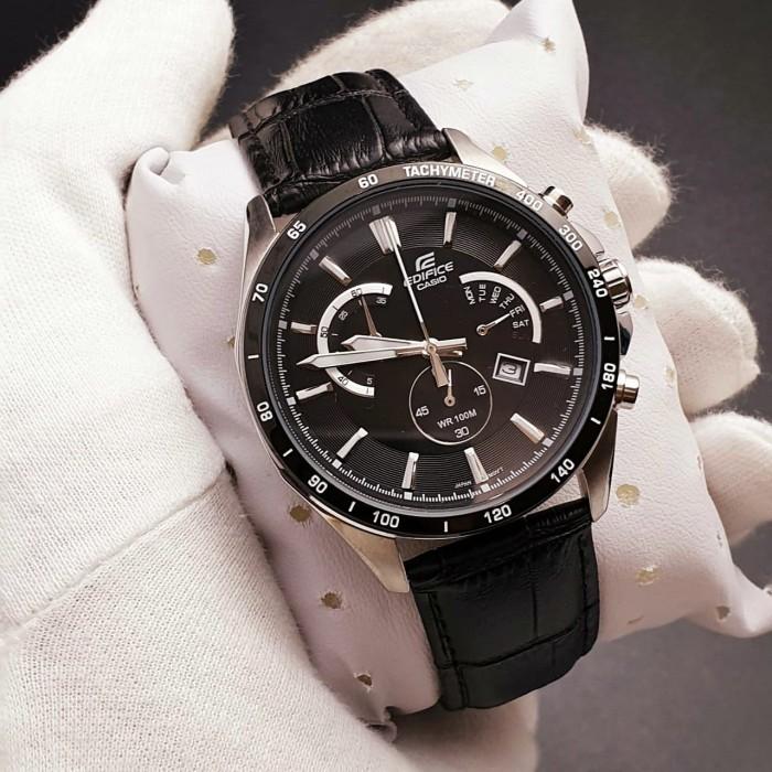 Foto Produk Jam Tangan Pria Casio EDIFICE EFR-510L-1AV BLACK SILVER COMBI Leather dari Oniomania