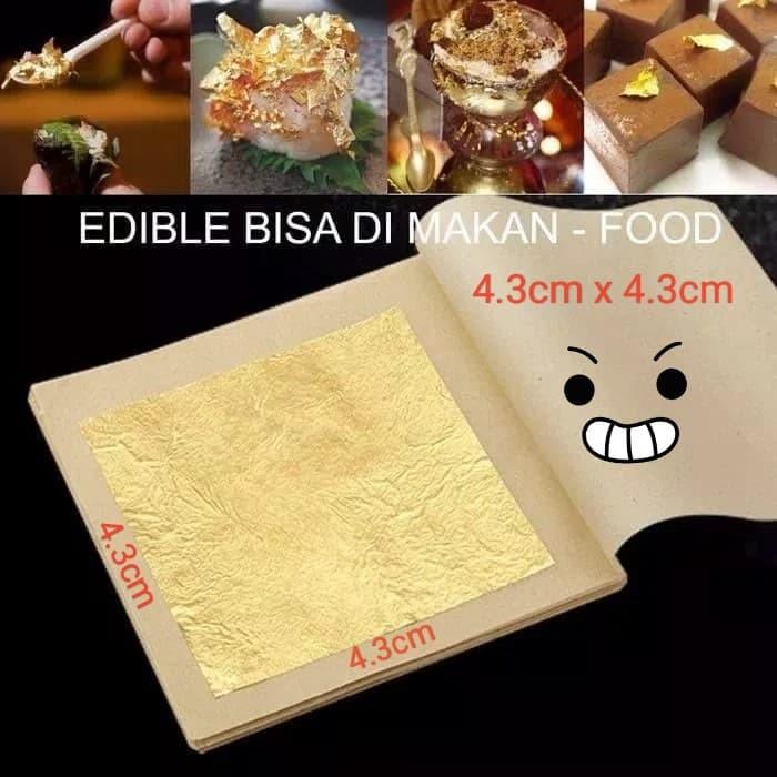 Foto Produk Edible Pure Gold Leaf 24K Kertas Emas makanan & masker kecantikan 4cm - Per 10lembar dari Dhikapp