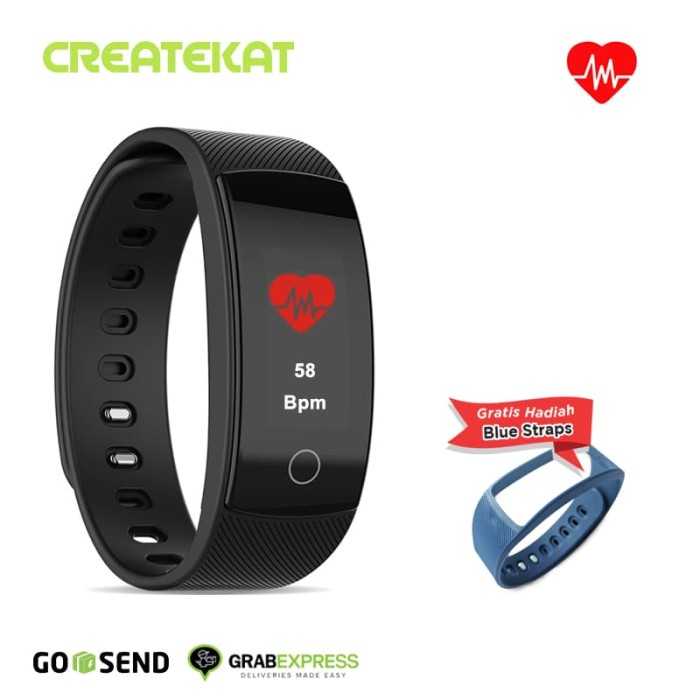 harga Createkat smartwatch heart rate monitor smart band gelang pintar - biru Tokopedia.com