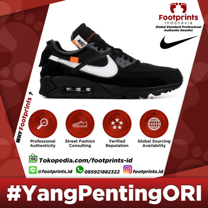 Jual Off White x Nike Air Max 90 Black 100% Original Sneakers DKI Jakarta Footprints Indonesia | Tokopedia
