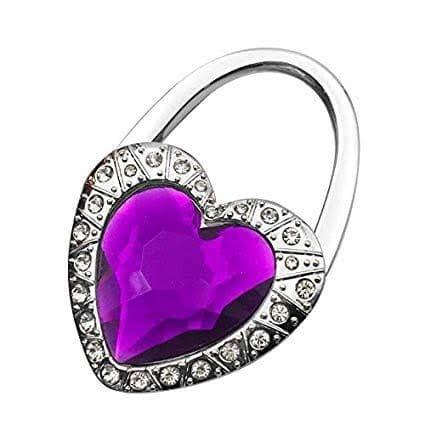 Foto Produk Eksklusif Stainless HEART Shape Crystal Bag Hanger-cocok u/Souvenir! - Ungu dari Hello Maddie