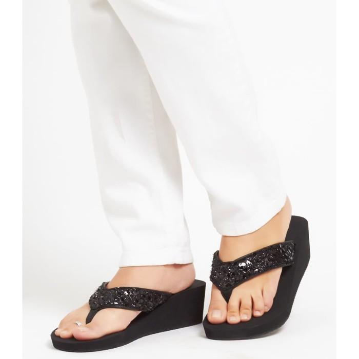 Sandal wedges wanita sophie martin hitam nyaman