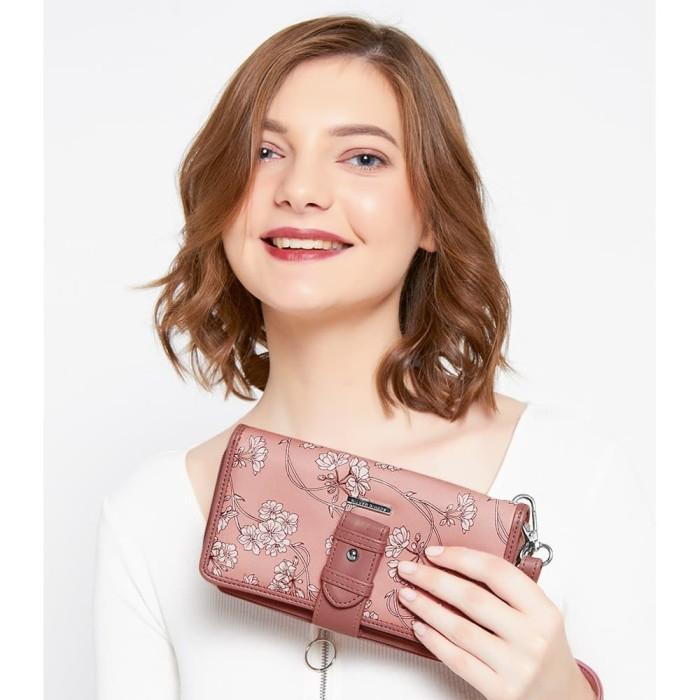 Dompet wanita import pink bunga