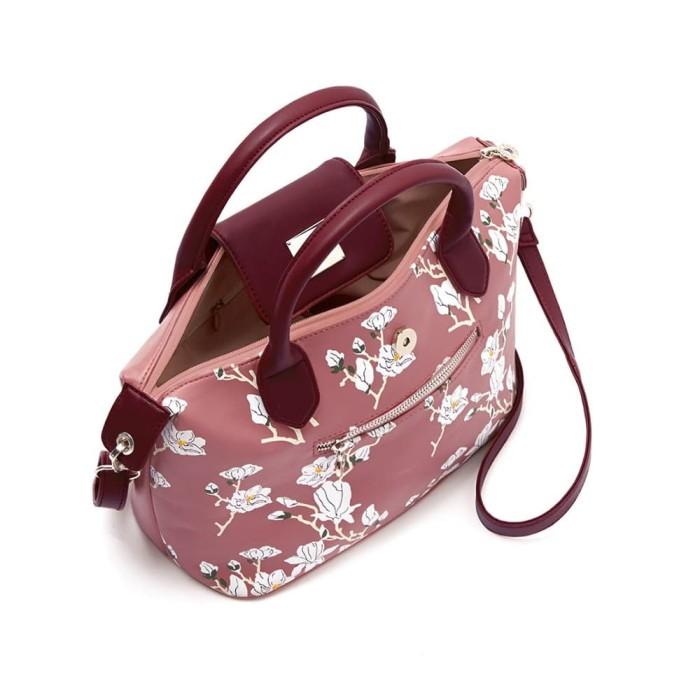 Tas selempang wanita pink bunga