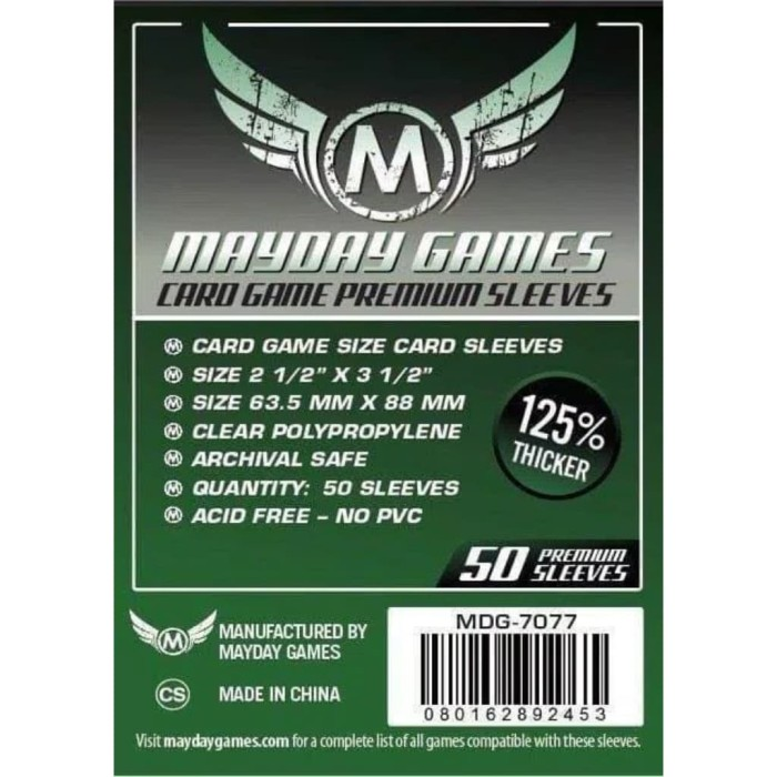 Foto Produk Card Sleeves 63.5x88 mm - Premium MTG - Board Game Sleeves - Mayday dari Toko Board Game