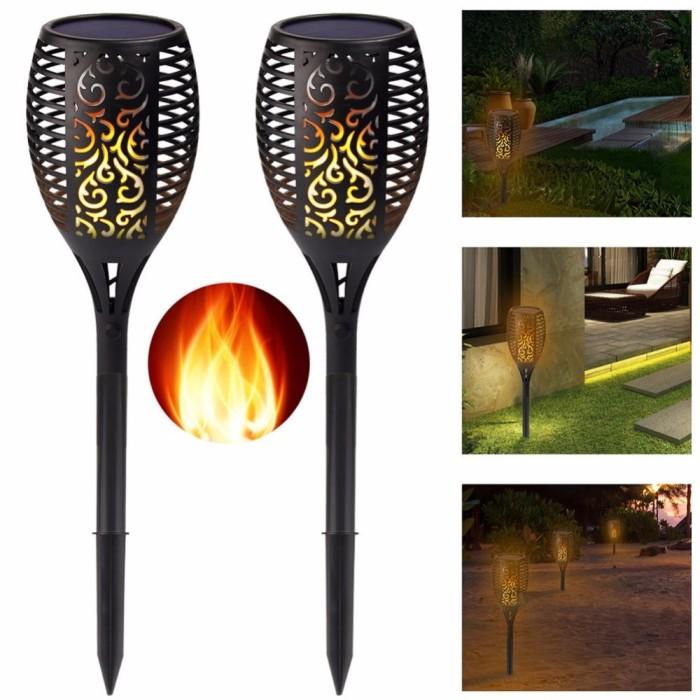 Pack Solar Tiki Torch Lights Led Garden