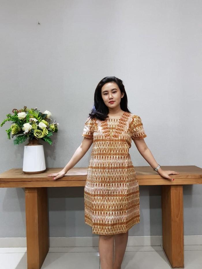 Foto Produk Dress Batik Katun Cirebon Brand Batik Muda Uk M – BAAD72122 - Cokelat Muda, M dari BatikMuda