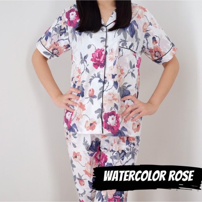 Foto Produk PIYAMA WANITA KATUN, All Size, Motif Watercolor Rose, Celana Panjang, dari Letty Shop18