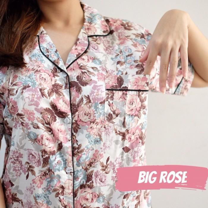 Foto Produk PIYAMA WANITA KATUN JEPANG, Baju Tidur Cewe, All Size, Motif Big Rose, dari Letty Shop18