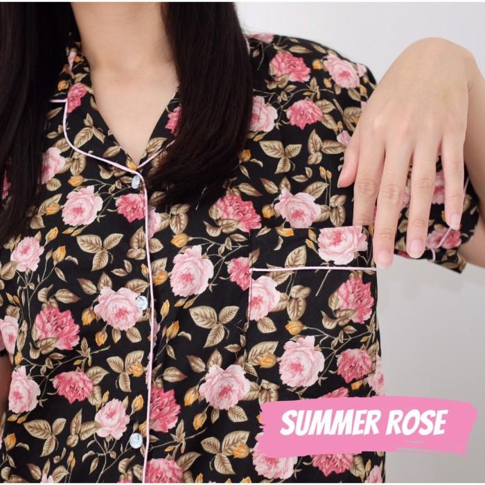 Foto Produk PIYAMA WANITA KATUN JEPANG, Baju Tidur Perempuan, Motif Summer Rose, dari Letty Shop18